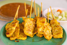 Pork Satay. With Peanut Sauce royalty free stock image