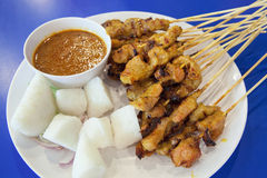 Pork Satay with Peanut Sauce Royalty Free Stock Photos
