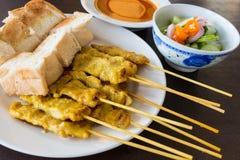 Pork Satay with Peanut Sauce Royalty Free Stock Image