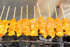 Pork satay on stove Royalty Free Stock Images
