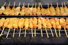 Pork satay in toaster Royalty Free Stock Images