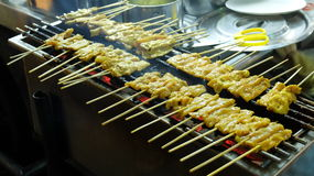 Pork Satay, Traditional Thai Spice Steak Roasted Pork on Grilled in Local Street Night Market Stock Image
