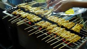 Pork Satay, Traditional Thai Spice Steak Roasted Pork on Grilled Stock Photography