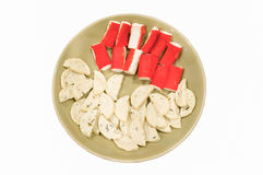 Pork sausage and Crab stick  in place Royalty Free Stock Photos