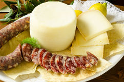 Pork sausage and pecorino Royalty Free Stock Photography