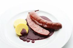 Pork sausage with red wine Goulash and Polenta Stock Image