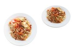 Pork sausage salad spicy thai food.Dressing consists of Chili, fish sauce, lemon juice, sugar and add vegetables as you like. Pork sausage salad spicy thai food stock images