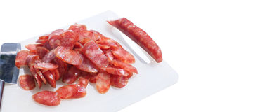 Pork Sausage slide with clipping paths and copy space Stock Image