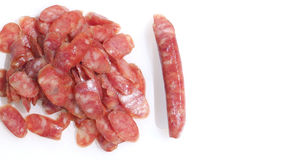 Pork Sausage slide top view isolate  on white Royalty Free Stock Images