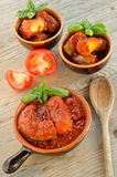 Pork sausage with tomato sauce Royalty Free Stock Photos