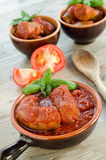 Pork sausage with tomato sauce Royalty Free Stock Images