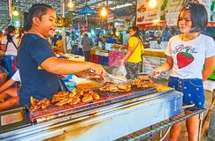 The pork sausages on grill, Talad Saphan Phut market, Bangkok, Thailand