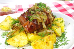 Pork sausages with potato Royalty Free Stock Photos