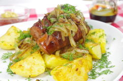 Pork sausages with potato Royalty Free Stock Images