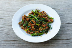 Pork sauteed with garlic and hot basil set Royalty Free Stock Photos