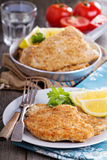 Pork schnitzel with parmesan Royalty Free Stock Image