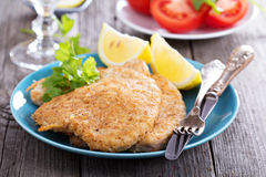 Pork schnitzel with parmesan Royalty Free Stock Photos