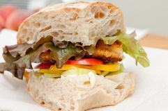Pork schnitzel sandwich. On fresh baked bread with heirloom tomatoes and lettuce Stock Photography