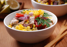 Pork and scrambled eggs in the bowl Stock Image