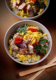 Pork and scrambled eggs in the bowl Royalty Free Stock Images
