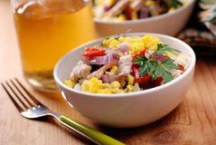 Pork and scrambled eggs in the bowl Stock Photos