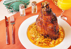 Pork shank with braised cabbage Stock Photos