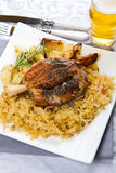 Pork shank with sauerkraut Stock Photography