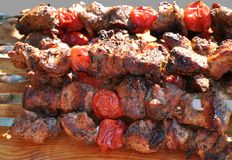 Pork shashlik Stock Images