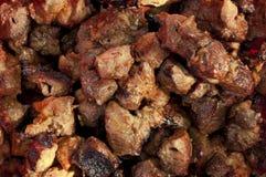 Pork shashlik closeup. Stock Photo