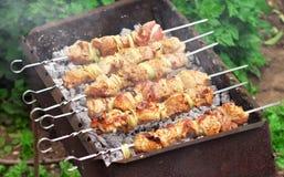 Pork Shish kebab on Fire. Royalty Free Stock Photography
