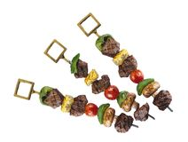 Pork shish kebab with vegetables isolated on white Royalty Free Stock Photography