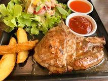 Pork shop stake dish background royalty free stock image