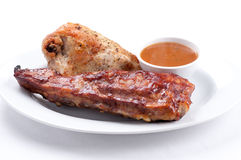 Pork side ribs. Some juicy barbequed organic pork side ribs Stock Photo