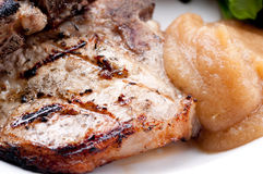 Pork side ribs. Some juicy barbequed organic pork side ribs royalty free stock photography