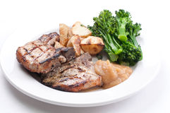 Pork side ribs. Some juicy barbequed organic pork side ribs stock image