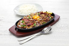 Pork sisig, filipino cuisine. Sizzling pork sisig, filipino cuisine Stock Image