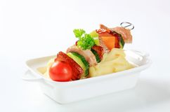 Pork skewer and mashed potato Royalty Free Stock Images