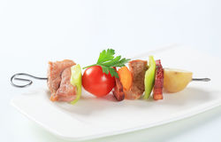 Pork skewer Stock Images