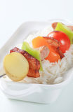 Pork skewer and rice Royalty Free Stock Photos