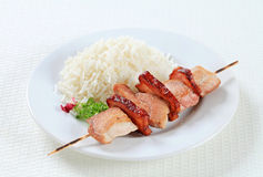 Pork skewer with rice Royalty Free Stock Photos