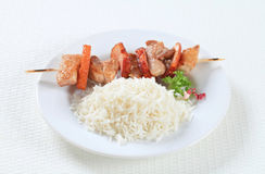Pork skewer with rice Stock Photo