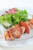 Pork skewer with salad greens Royalty Free Stock Image