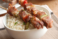 Pork skewers Stock Photography