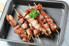 Pork skewers Stock Photos