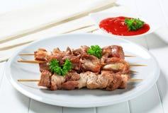 Pork skewers Stock Image