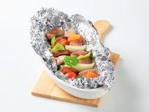 Pork skewers Stock Images