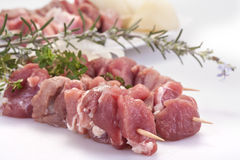 Pork skewers Stock Images
