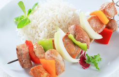 Pork skewers with rice Royalty Free Stock Image