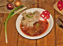 Pork slice with sauce Stock Images