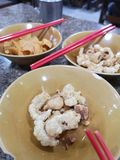 Pork snack rind scratching crackling and Crispy wonton food royalty free stock photo